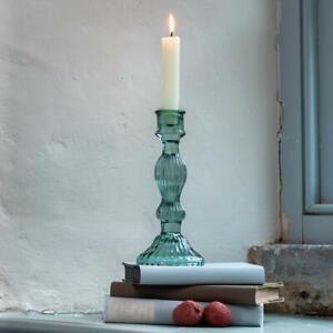 Green Glass Bella Candlestick Vintage Dinner Taper Candle Stick Holder, 9x20cm