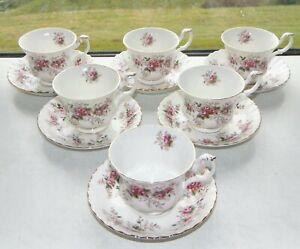 Royal Albert Fine Bone Lavender Rose Pattern 6 x Cups Saucers 1st Quality
