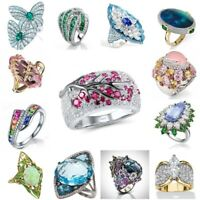 925 Silver Multi-color Gemstone Sapphire Emerald Ring Cocktail Party Jewelry