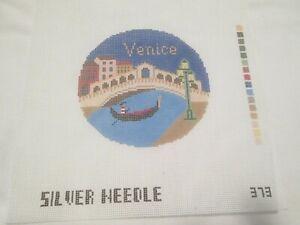 VENICE TRAVEL ROUND-SILVER NEEDLE-HANDPAINTED NEEDLEPOINT CANVAS