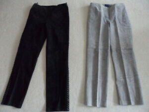 Ann Taylor Sz 8 8P GRAY Lined 100% Leather Pants 31X29