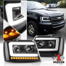 Blk/Clear Projector Headlight[LED BAR+SEQUENTIAL SIGNAL]for 07-14 Suburban/Tahoe