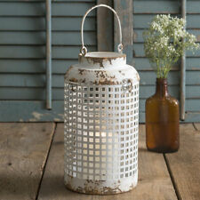 Distressed White Weave Candle Lantern