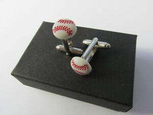 Handmade Sporty Sport Sports Themed Baseball Mens Cufflinks Gift Boxed 12850BASE