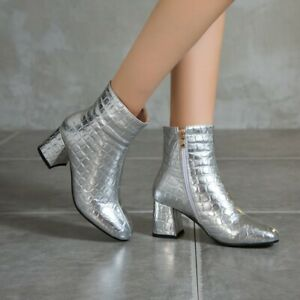Womens Boots Block Mid Heels Patent Leather Short Booties Square Toe Zip Shoes