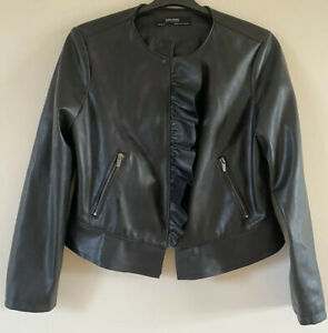 ZARA BASIC BLACK FAUX LEATHER FRILL FRONT FULL ZIP JACKET EUR XL UK 14 Small Fit