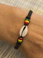 Bracelet Bahia fil coton noir cauris coquillage perles rasta brésilien 1124