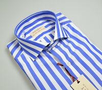 Camicia Slim Fit Pancaldi a righe larghe Azzurro Puro cotone Collo alla Francese