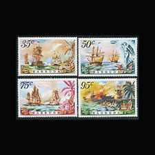 Barbuda, Sc #209-12, MNH, 1975, Battle of the Saints, Flags, Ships, CL139F