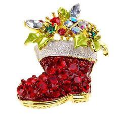 Christmas Red Crystal Rhinestone Stocking Boot Santa Brooch Pin Secret Xmas D