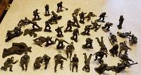 "Vintage Lot 44 World War II Miniature Plastic Toy Soldier Figures 2"" Tall 1960s"