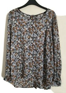 George Size 14 Long Sleeve Lightweight Button Back Blouse -(C42)