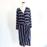 Autograph Size 18 Navy Blue White Striped Casual Dress Women's