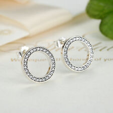 1 Pair 925 Sterling Silver Forever Love Clear CZ Circle Hoop Earrings for Women