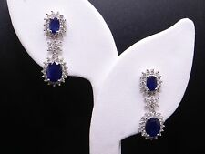 18k White Gold 5ct Oval Cut Sapphire Diamond Halo Cluster Dangle Drop Earrings