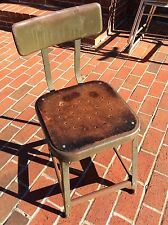 Vintage Industrial Green Metal Stool With Back & Masonite Seat - Very Good