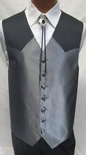 Large Long  Mens Black & Silver Chaps Ralph Lauren Western Tuxedo Vest Cowboy