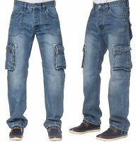 ETO Men's Casual Cargo Combat Style Denim Jeans Work Pants In Stonewash W28-W42