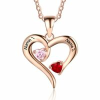 Personalized Lover Heart Necklace Grandma Mother's Gift Birthstone Name Necklace