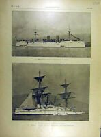 Old Antique Print 1898 Manilla Navy Combat Baltimore Boston Isla-De-Cuba 19th