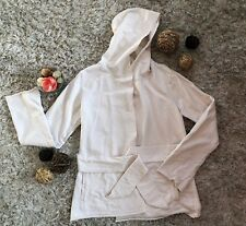 Lucky Brand Cotton Ivory Off White Sweater Cardigan Jacket Large Hooded Belted