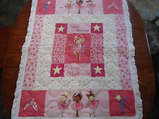 BALLERINA BABY QUILT 36 BY 44 FINSHED  WHITE RUFFLED BINDING