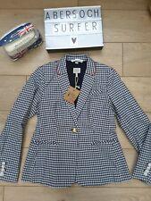 Joules French Navy Gingham Check Zayna Jacket Blazer navy blue cream uk 14