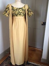 Vintage 1960s Prom, Evening Or Bridesmaid Wedding Dress With Coat, Gold /Green