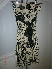 jane norman dress black/cream flower  stretch jersey size 8 tiered hem strapless