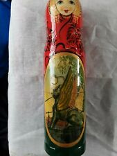 "Large Russia Hand Painted Wooden Bottle Container 12"" Signed Winged Lion"