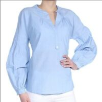 Joie Light Blue Cotton Puff Sleeve Azabeth Tunic Shirt Blouse SZ L