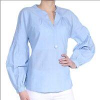 Joie Light Blue Cotton Puff Sleeve Azabeth Tunic Shirt Blouse SZ L