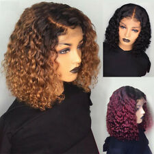 Short-Curly Lace Front Human Hair Wig Ombre Brazilian Bob Water Wave Fashion