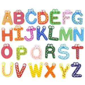 26 Alphabet Wooden Colorful Cartoon Fridge Magnets Letters Educational Toy
