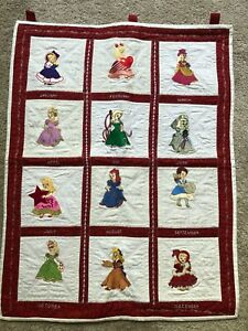 handmade 31 X 24 in. calendar wall quilt with embroidered girls