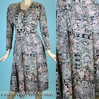 VTG 80s does 50s Multi Color swing abstract print tie back summer dress Sz S