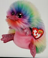 """Ty Beanie Boos Pippa the Rainbow Platypus Claire's Excl. Style 36285 NEW 7"""" 18cm"""