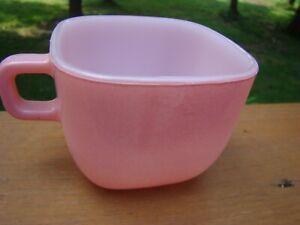 Vintage GLASBAKE SQUARE COFFEE TEA CUP MUG - Pastel Coral  J-2265 Milk Glass