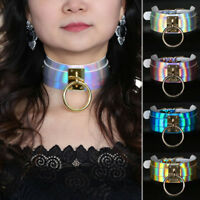 EE_ Gothic Punk Laser Leather Choker Holographic Collar Necklace Ring Buckle Uti