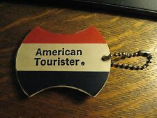 American Tourister Vintage 1970's Suitcase Red White Blue Luggage Chain Name Tag