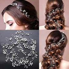 35cm Women Wedding Bride Crystal look pearl silver Hair band head piece garland