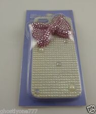 for Iphone 5 phone case bling Pink bow 3d white faux pearl