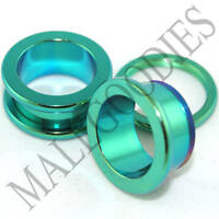 "0539 Green Surgical Steel Screw-on/fit Flesh Tunnels 5/8"" Inch 16mm Ear Plugs"