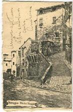 1921 Perugia - Via del Poggio LITOGRAFIA G. Tilli - FP B/N VG
