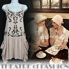 Vintage TOPSHOP 20 S Clapet ROBE NUDE perles Gatsby 30 S Vamp ART DECO Boho Diva