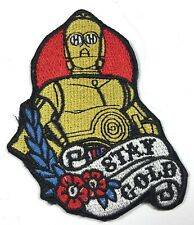 """C-3PO STAR WARS """"STAY GOLD""""  IRON ON EMBROIDERED PATCH"""