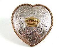Mujer Western de Ley Chapado en Plata Corazón Corona Hebilla de Cinturón