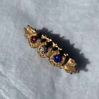Antique Victorian Brooch Red White Blue Glass Cabochons Gilded Bronze Pin