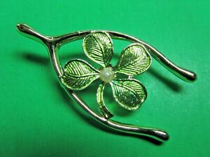 VINTAGE GERRY'S ST PATRICK'S DAY WISHBONE 4-LEAF CLOVER METAL PIN BROOCH (P16)