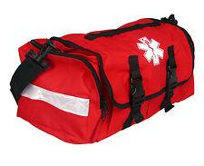 "FIRST RESPONDER EMT PARAMEDIC ON CALL TRAUMA BAG W/ REFLECTORS- RED 17""X7X10"""